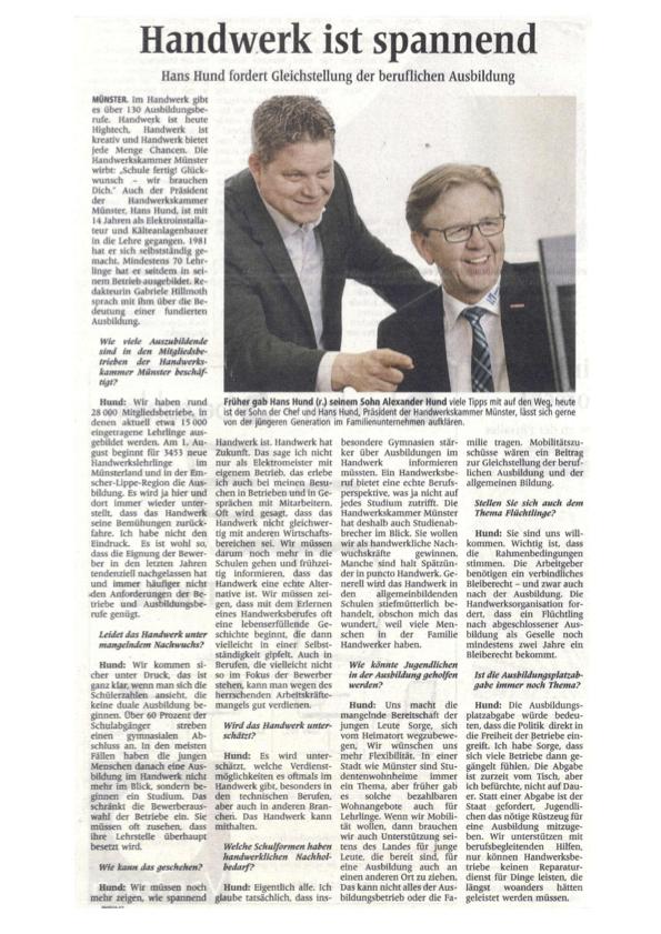 Pressearitklen Westfälische Nachrichten Interview Hans Hund